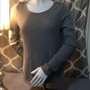 Ann Taylor crew/boat neck L gray sweater